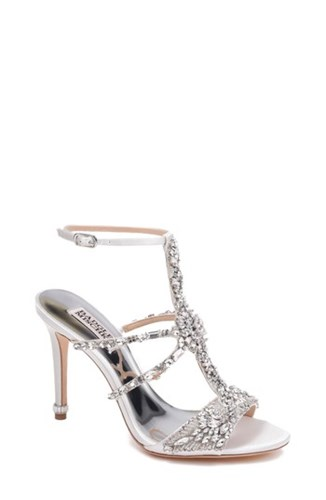 Badgley Mischka Hughes Crystal Embellished Sandal White Satin qGkRfmaYR