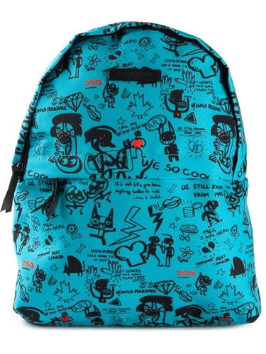 DSquared Dsquared2 Graffiti Print Backpack Blue IIDkI2PZ4t