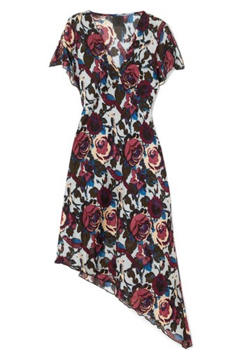 Anna Sui Birds And Roses Printed Silk Chiffon Dress Blue hbHtNwRI