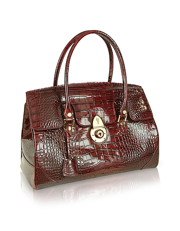 L.a.p.a. Ruby Red Croco Stamped Patent Leather Satchel Bag Jz0DSoy