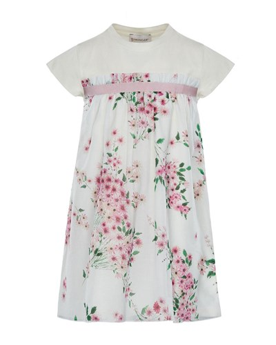 Moncler Mini Me Floral Woven And Jersey Dress Multi ZGqp4TO