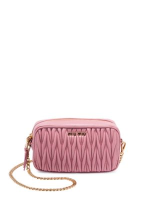 Miu Miu Convertible Leather Crossbody Bag Pink FbdaJ