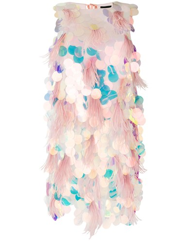Marco Bologna Sequin And Feather Trim Dress Pink And Purple ozN0jA