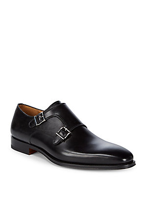 Magnanni Monk Strap Leather Loafer Black WrUaw