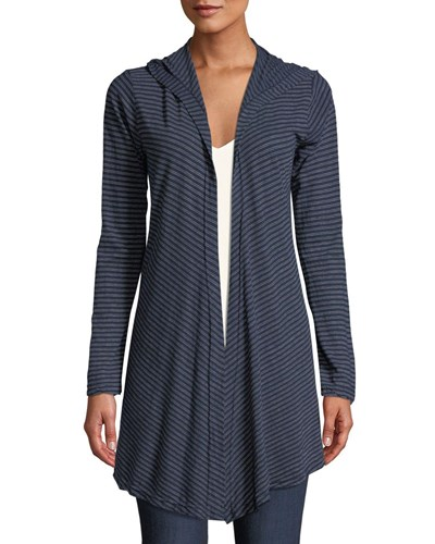 Hooded Open Front Striped Cardigan Blue