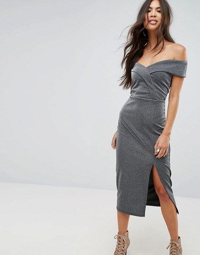 Pencil Split Midi Fortune Silver With Outrageous Dress Bardot qxFAREw8