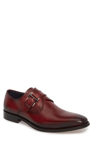 Jump Men's Miguel Monk Strap Shoe Burgundy Leather DrEeW