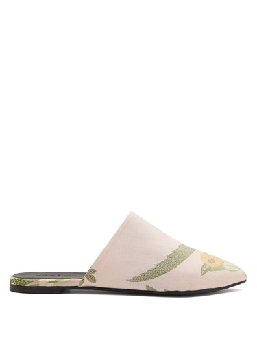 Marques Almeida Point Toe Bird Jacquard Backless Loafers Pink Multi 5ZAloCF
