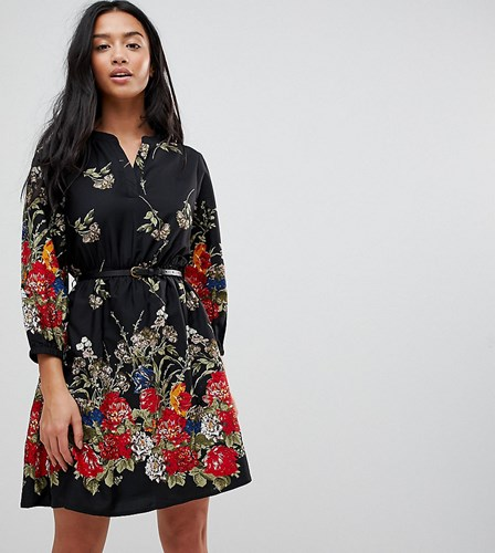 4 Yumi Black Print Sleeve Petite Floral Belted Dress In 3 Border xEaHwrE