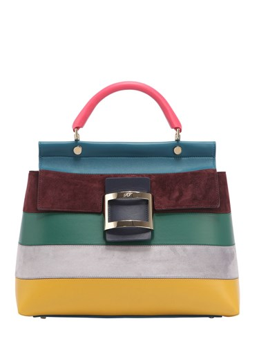 Roger Vivier Medium Cabas Multicolor Suede Bag wOKHm