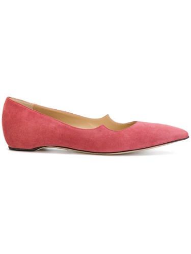Paul Andrew Pointed Toe Ballerinas Leather Suede Pink Purple Gmp3G3h