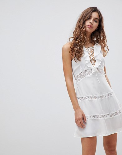 Glamorous Lace Up Dress With Frill White a7feoyxF4
