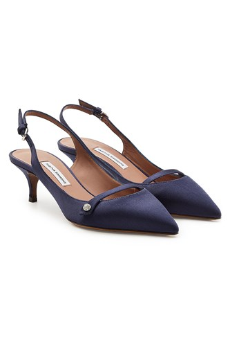 Tabitha Simmons Layton Sling Back Satin Pumps Blue 9PT5od