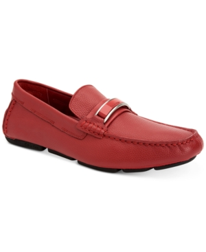 Calvin Klein Madsen Embossed Tumbled Leather Drivers Shoes Brick Red 3CCYvv5f