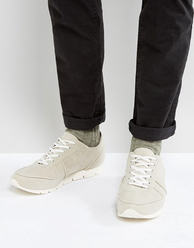 Asos Retro Trainers In Relaxed Off White Faux Suede White ZycCi7Jdl