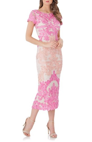 JS Collections 'S Soutache Lace Midi Dress Hot Pink Nude FAoeF