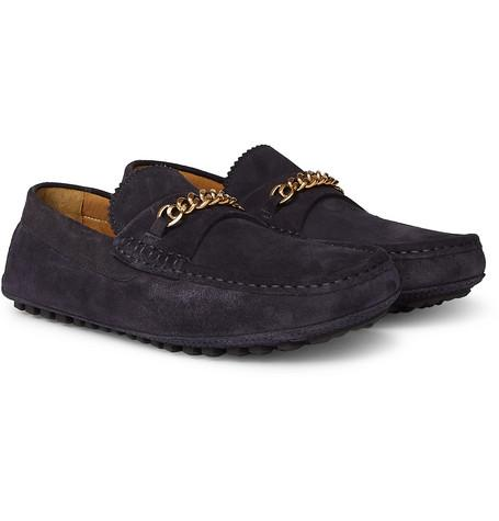 Tom Ford York Chain Trimmed Suede Driving Shoes Navy U39NWqaLF