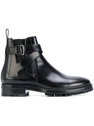Lanvin Buckled Chelsea Boots Leather Rubber Black eGg9BQi1M