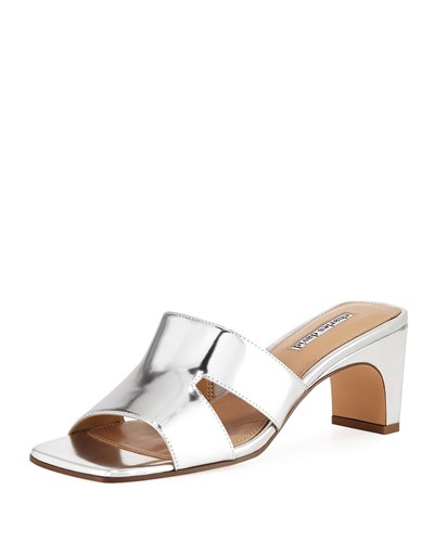 Leather Harley Slide Sandal Silver Metallic Charles David wSxq01