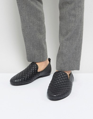 Frank Wright Slipper Shoes In Black Quilted Leather Blue RBQcGz6g2