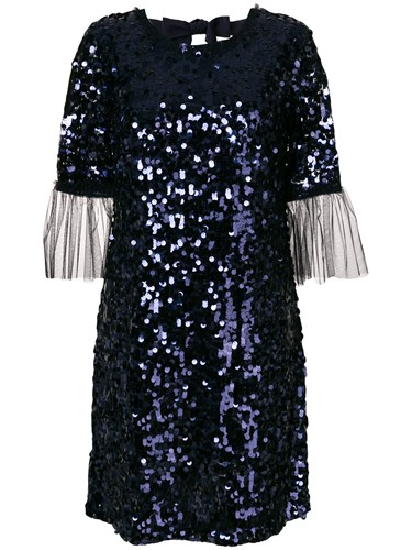 Blumarine Tulle Cuff Sequin Mini Dress Blue JZ6CMn