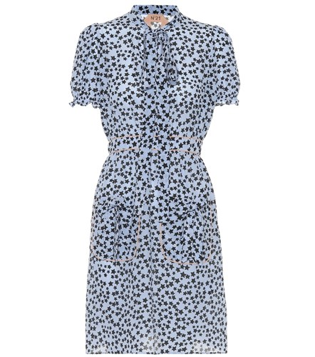 N°21 Donna Star Printed Silk Minidress Blue evGHVLp