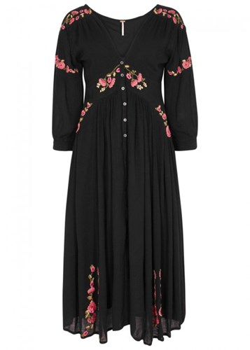 Free People Day Glow Embroidered Jersey Midi Dress Black eaIGDm