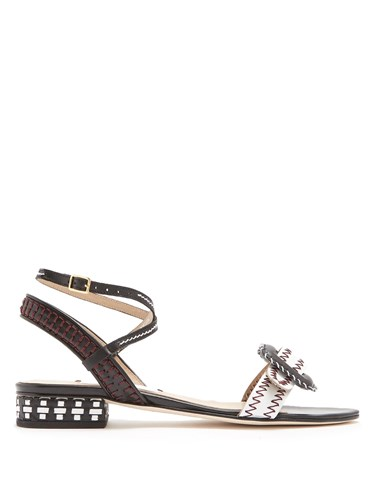 RUE ST. Miguel Buckle Front Leather Sandals Black White LajmMi9
