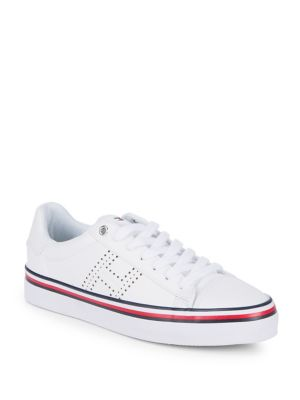 Up Fressia Sneakers Leather Hilfiger White Tommy Lace wF1fx
