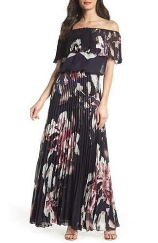 Xscape Evenings Off The Shoulder Ruffle Gown Navy Pink HS05EFy