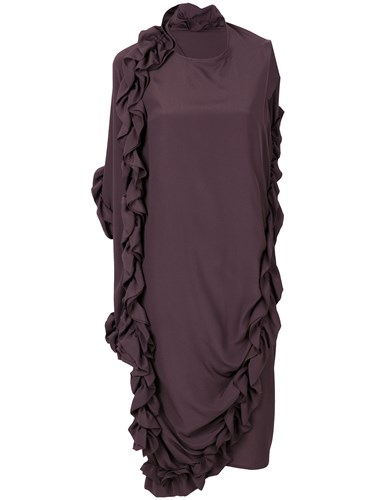 Marni Ruffle Asymmetric Dress Acetate Silk Brown ngvb8qoVB