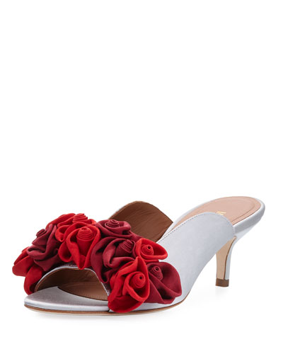 Malone Souliers Bach Rosette Embellished Mule Pump Red 2ByhyO