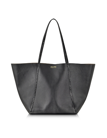 Linda Farrow Black Ayers And Calf Leather Tote Tx341