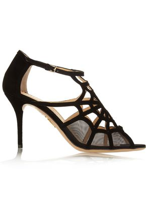 Charlotte Olympia Lotte Cutout Suede And Mesh Sandals Black D14pTX