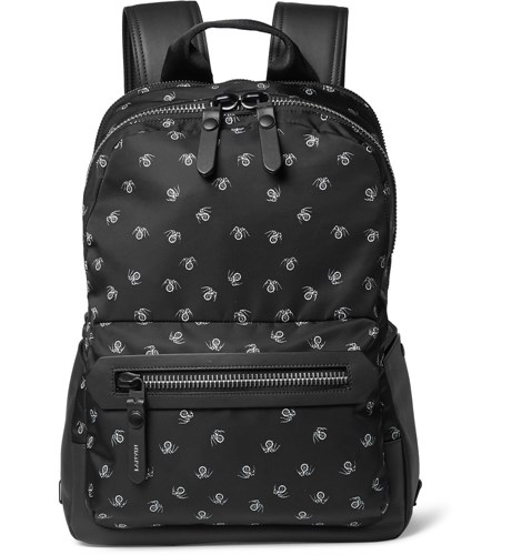 Spider Print Leather Trimmed Twill Backpack Black