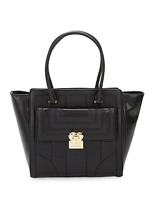 Love Moschino Textured Faux Leather Tote Black C87cm