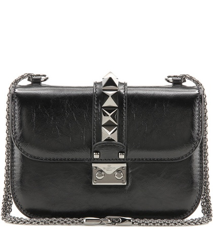 Valentino Lock Noir Small Leather Shoulder Bag Black xmxCbOyUxq
