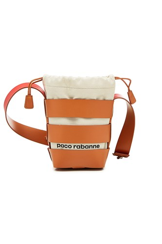 Paco Rabanne Cage Hobo Mini Shoulder Bag With Leather Beige Pn2Uc57sn