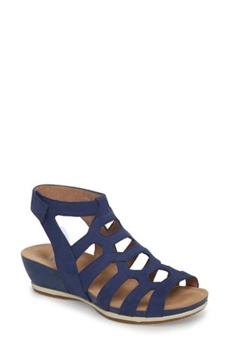 Dansko 'S Valentina Caged Wedge Sandal Blue Milled Nubuck Leather iuLAxDR9W