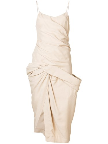 Jacquemus Gathered Effect Midi Dress Nude And Neutrals n4L4FHA