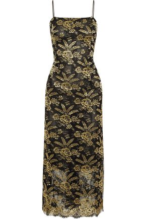 ADAM by Adam Lippes Metallic Embroidered Tulle Midi Dress Black 0w0GbsPAb