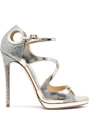 Jimmy Choo Fancie Cutout Glittered Mesh And Mirrored Leather Sandals Silver xzsJVByVN