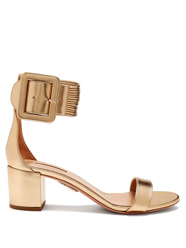 Aquazzura Casablanca Leather Sandals Gold IjkC4iLv