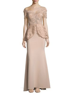 Nicole Bakti Lace And Sequin Peplum Gown Dusty Rose iAvpYn