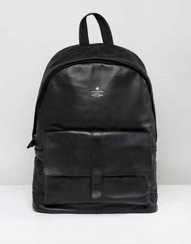 Asos Backpack With Leather Front Pocket And Embossed Logo Black lH4Xu