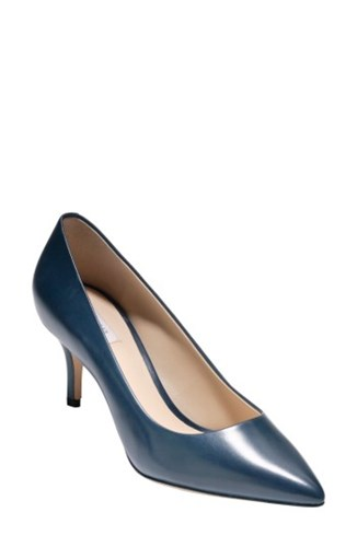 Cole Haan Women's Vesta Pointy Toe Pump Marine Blue Leather GS4uR72e