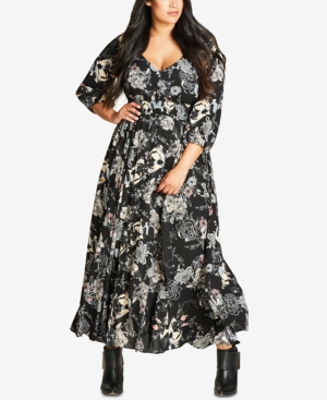 City Chic Trendy Plus Size Printed Maxi Dress Black AABpF