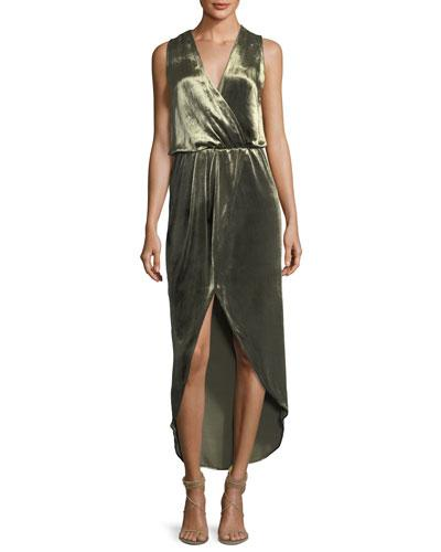 Haute Hippie Sleeveless Draped Velvet Wrap Gown Military ViBfF
