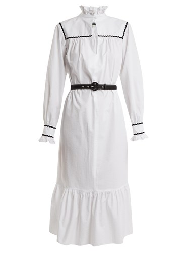 ALEXACHUNG Ric Rac Dress Trimmed Seersucker White Cotton na0HnxSz