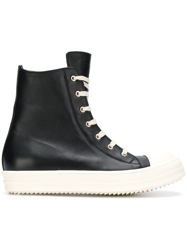 Rick Owens Lace Up Hi Top Sneakers Black pogYq